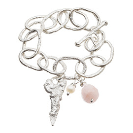 JR2RQ Melted chunky chain bracelet with large rose quartz and pearl