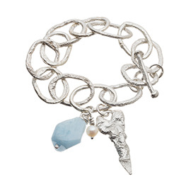 JR2AQ Melted chunky chain bracelet with large aquamarine and pearl