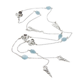 JR3AQ Lariat with hearts, flowers and large aquamarine chunks