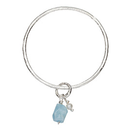 JR6AQ Melted bangle with large aquamarine and pearl
