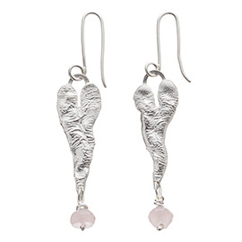 JR7RQ Melted heart earrings with rose quartz