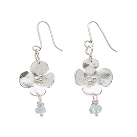 JR11AQ Melted flower earrings with aquamarine