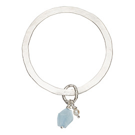 JR14AQ Flat hammered bangle with large aquamarine and pearl