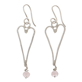 JR16RQ Small heart earrings with rose quartz