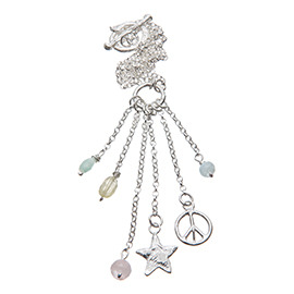 PL1 Peace sign and star necklace with semi-precious stones