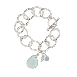 BHMT3G Melted chunky chain bracelet with sea glass, aquamarine and pearl