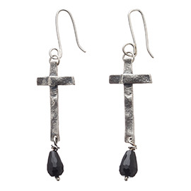 BT3 Oxidised silver earrings with melted cross and black onyx stones
