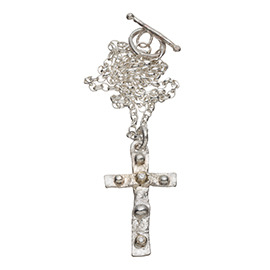 PRE2 Melted silver cross necklace with 2 gold nuggets and 2 diamonds