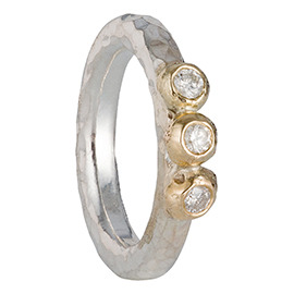 PRE4 Hammered silver ring with 3 gold nuggets and 3 diamonds