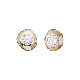 PRE5 Gold nugget diamond earrings