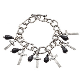 BT2 Oxidised Silver Bracelet with Meted Crosses and Onyx Stones