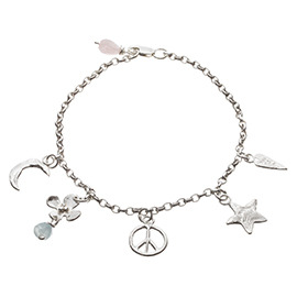 PL3 Peace Sign and Star Ankle Chain with 5 Charms