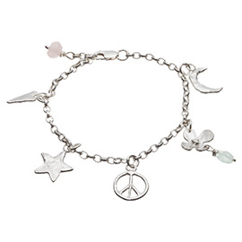 PL4 Peace sign and star bracelet with 5 charms