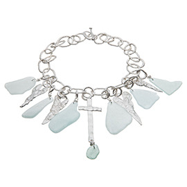 BHMT1G Melted chunky chain necklace with 6 melted hearts and 1 melted cross with sea glass