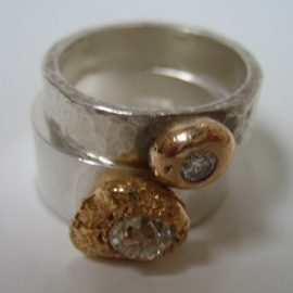 BC5 Hammered silver rings with upcycled diamonds set in 18ct gold nuggets