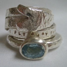 BC8 Melted and hammered silver rings with aquamarine, customised hand stamped message and melted heart