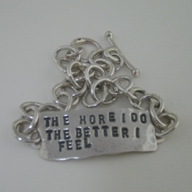 BC14 Melted chunky chain affirmation bracelet with customised hand stamped message